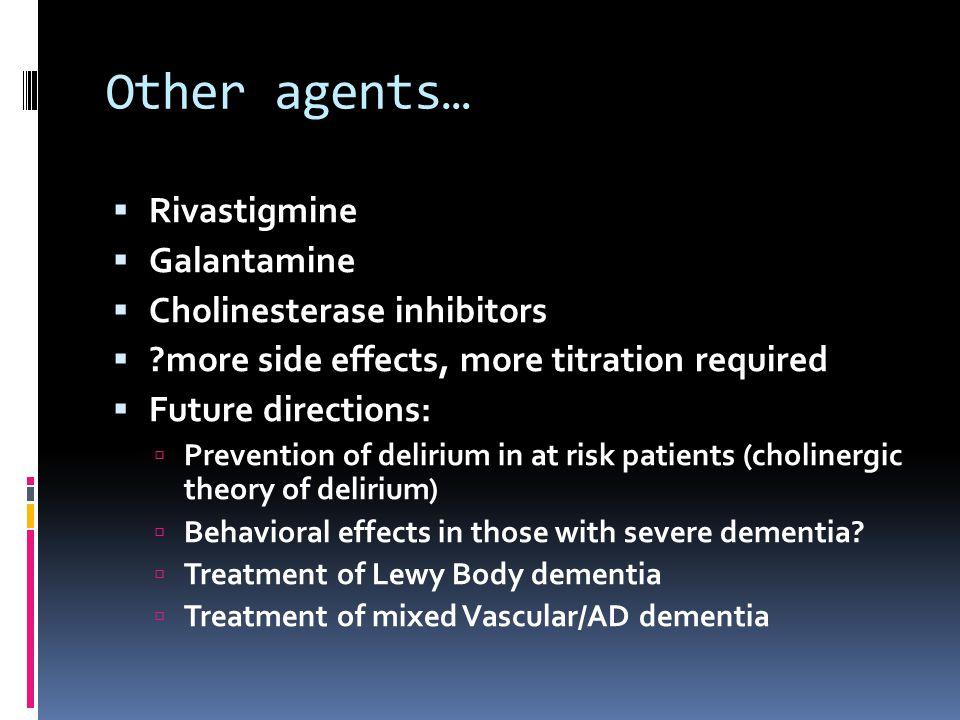 Other agents… Rivastigmine Galantamine Cholinesterase inhibitors