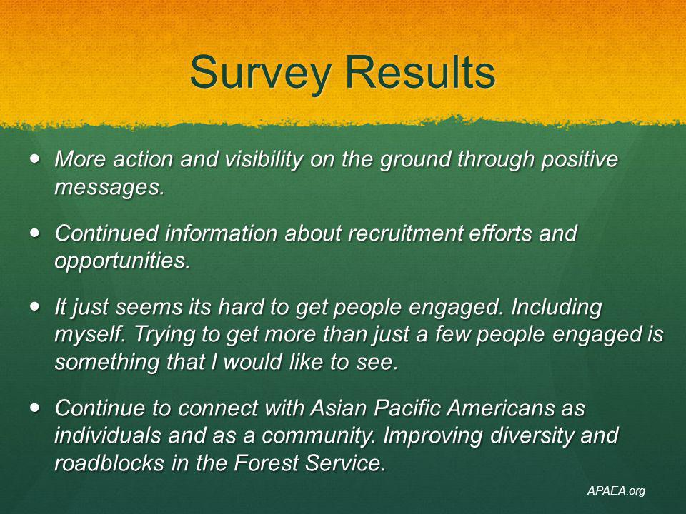 4/14/14 Survey Results. More action and visibility on the ground through positive messages.
