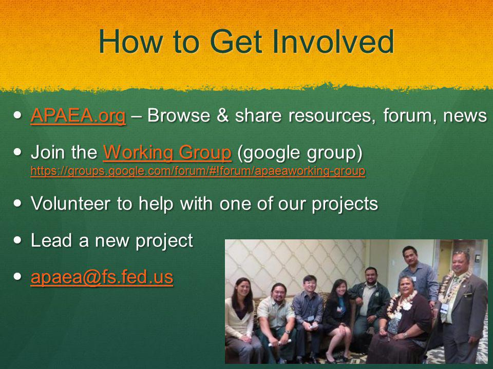 How to Get Involved APAEA.org – Browse & share resources, forum, news