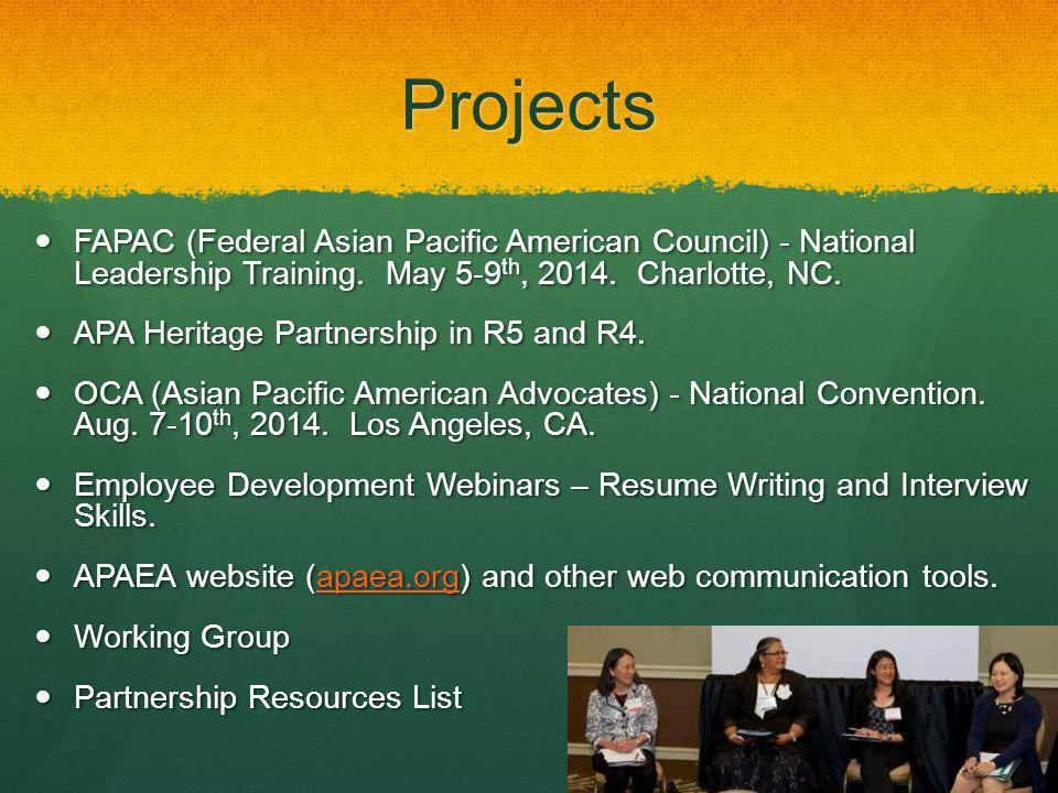 4/14/14 Projects. FAPAC (Federal Asian Pacific American Council) - National Leadership Training. May 5-9th, 2014. Charlotte, NC.