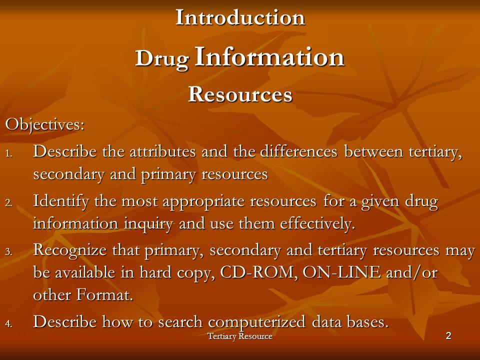 Introduction Drug Information Resources