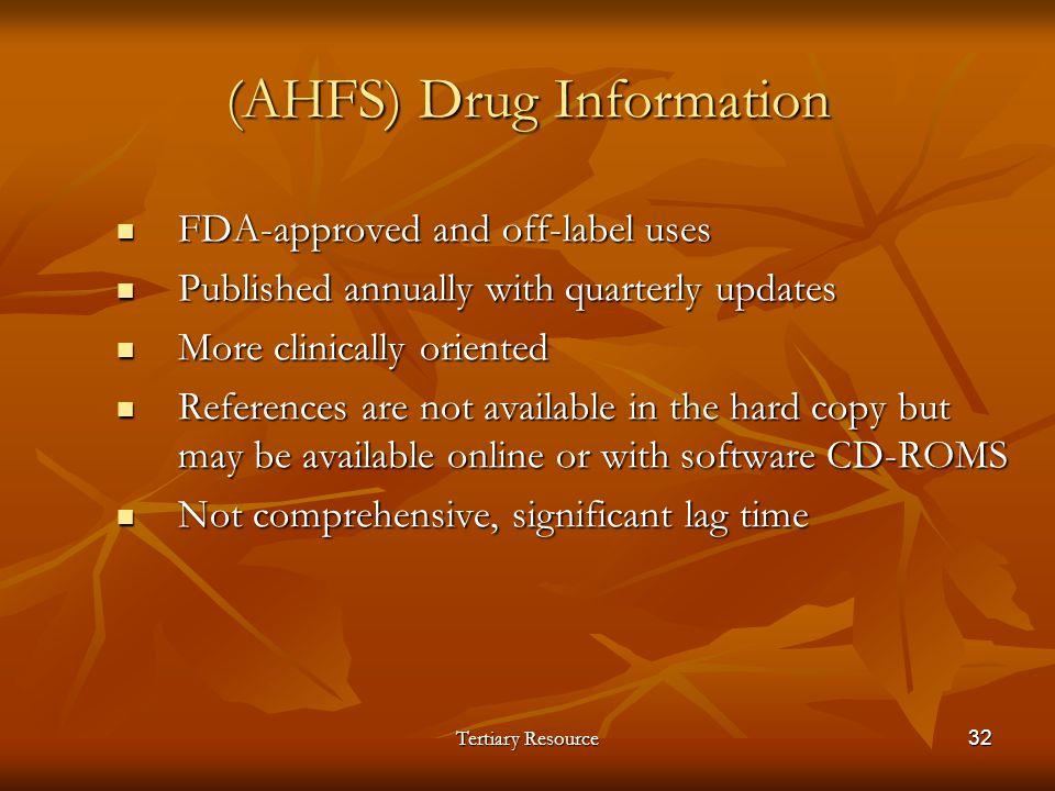 (AHFS) Drug Information