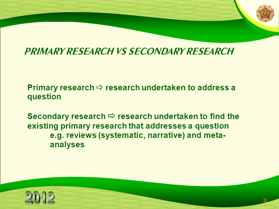 PRIMARY RESEARCH VS SECONDARY RESEARCH