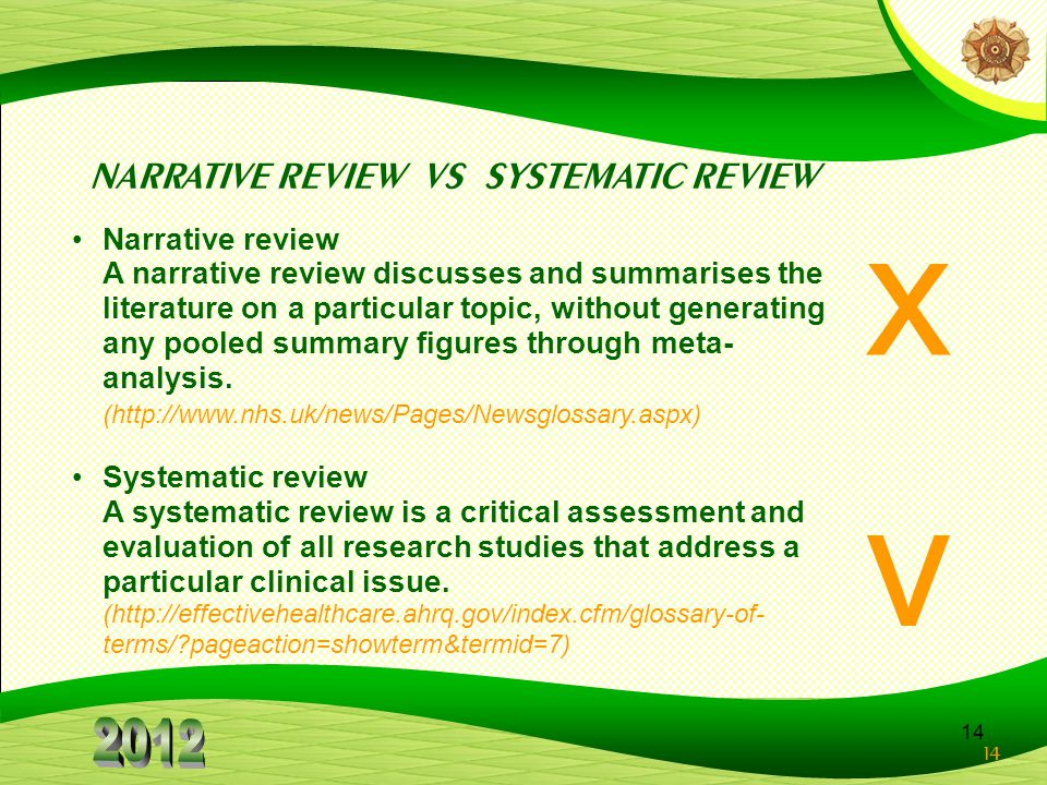 x v NARRATIVE REVIEW VS SYSTEMATIC REVIEW Narrative review