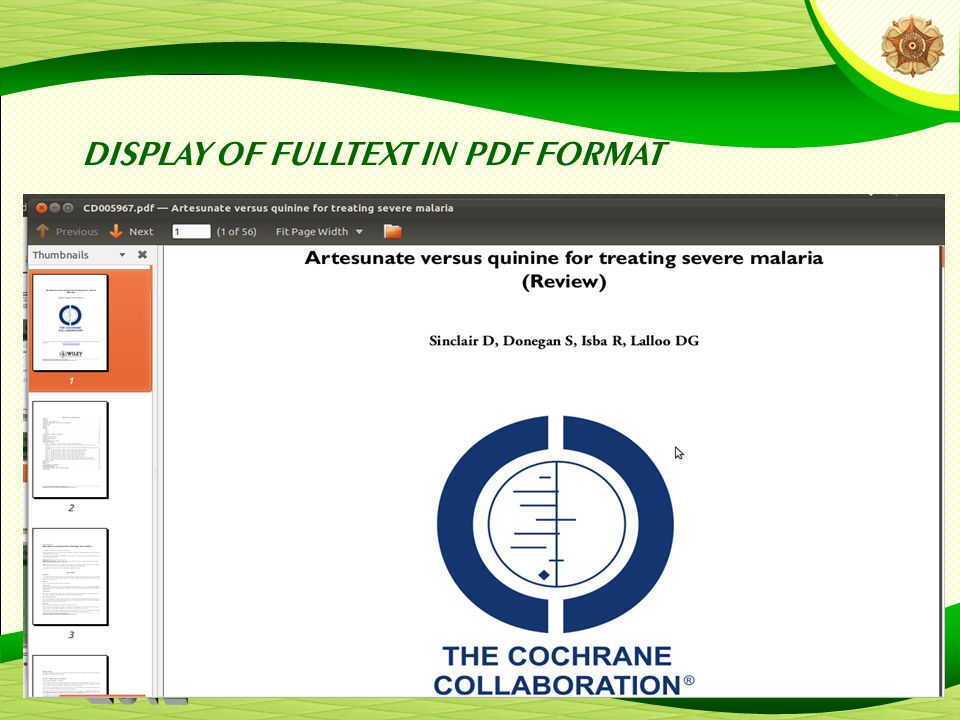 DISPLAY OF FULLTEXT IN PDF FORMAT