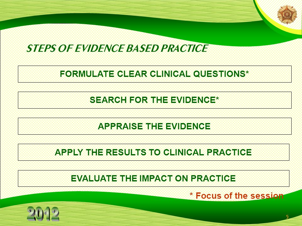 STEPS OF EVIDENCE BASED PRACTICE