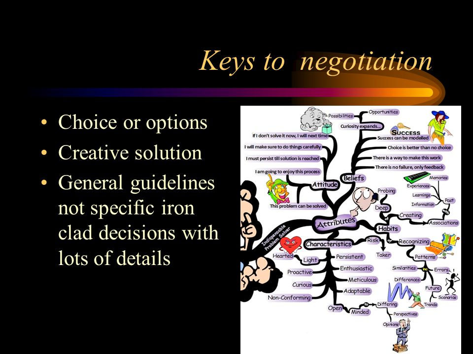Keys to negotiation Choice or options Creative solution