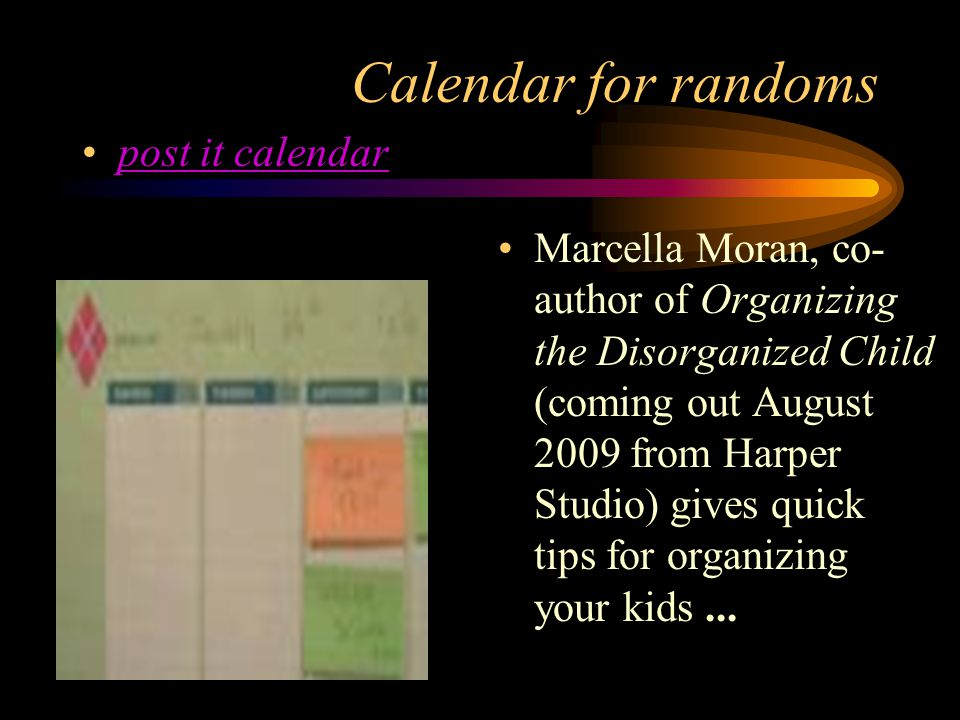 Calendar for randoms post it calendar