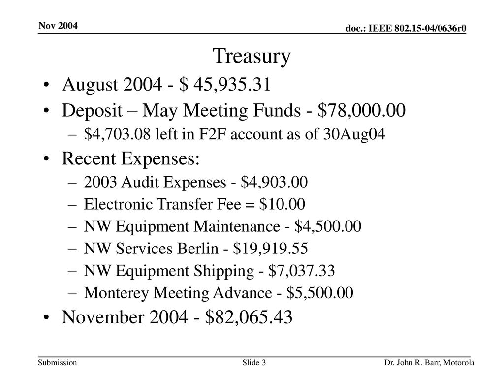 Treasury August $ 45, Deposit – May Meeting Funds - $78, $4, left in F2F account as of 30Aug04.