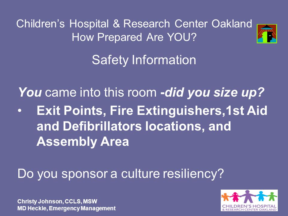 Children's Hospital & Research Center Oakland How Prepared Are YOU