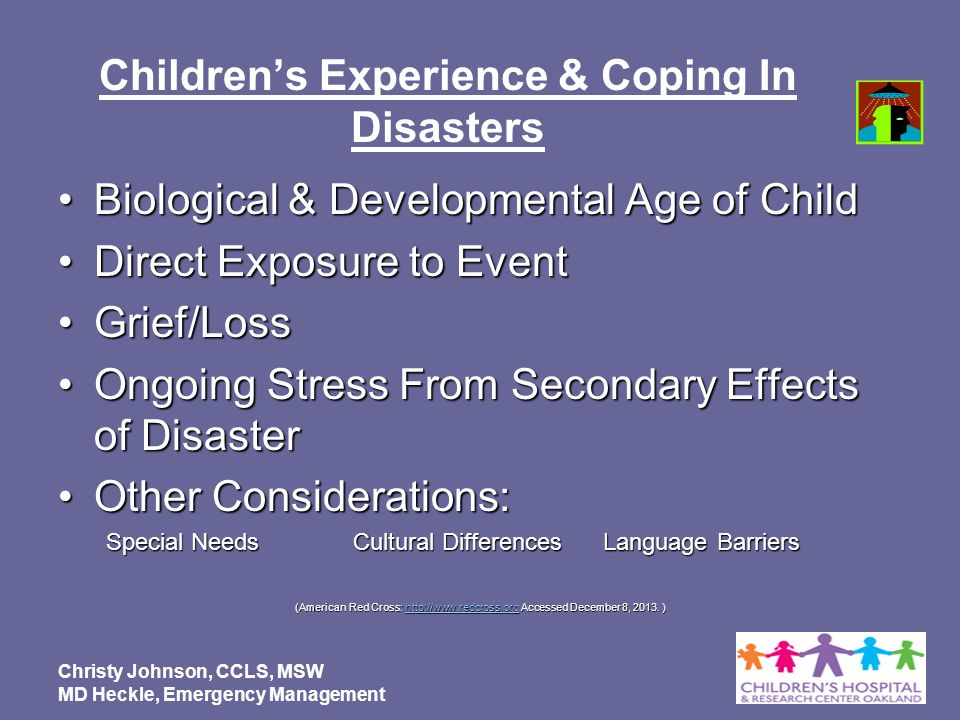 Children's Experience & Coping In Disasters