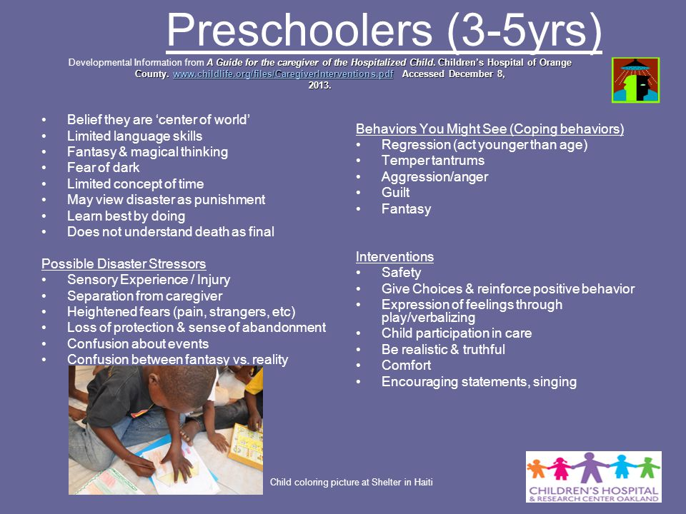 Preschoolers (3-5yrs) Developmental Information from A Guide for the caregiver of the Hospitalized Child. Children's Hospital of Orange County. www.childlife.org/files/CaregiverInterventions.pdf Accessed December 8, 2013.