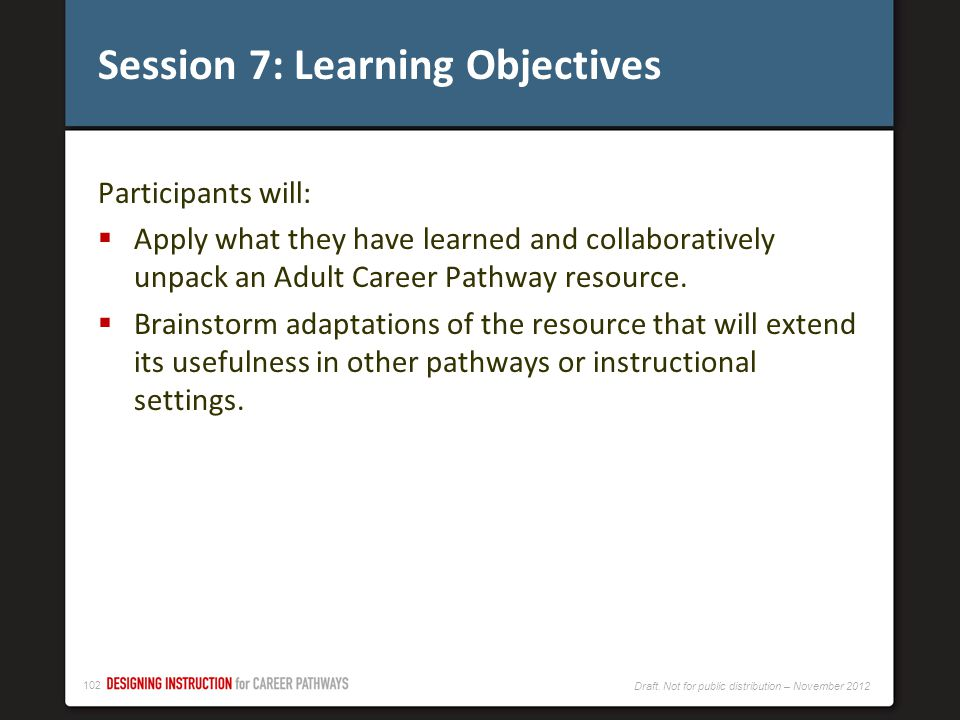 Session 7: Learning Objectives