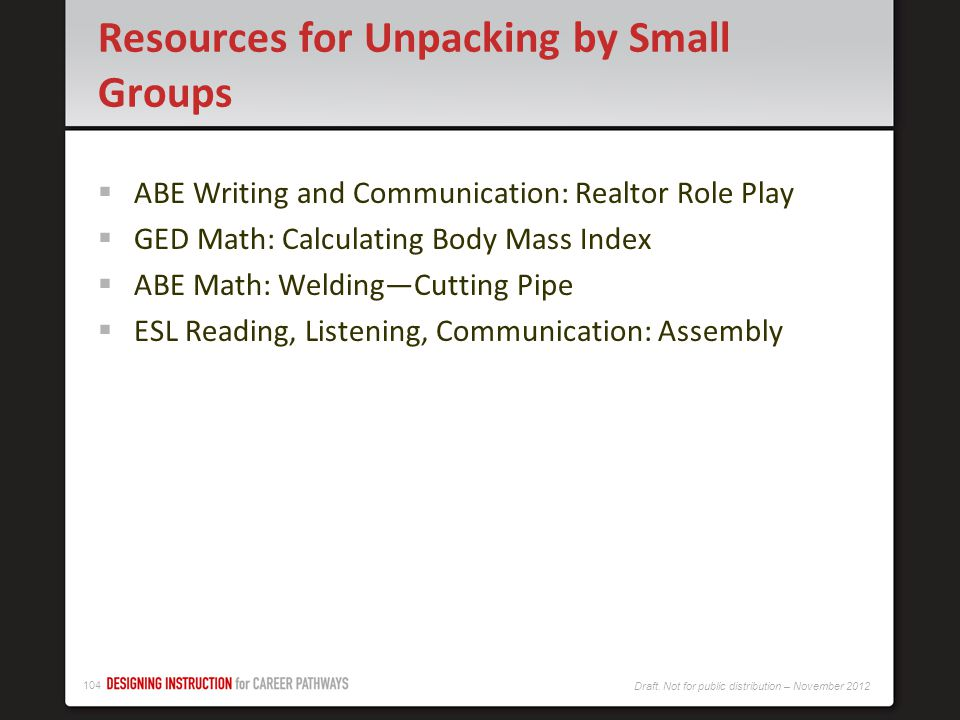 Resources for Unpacking by Small Groups