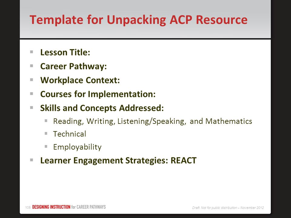 Template for Unpacking ACP Resource