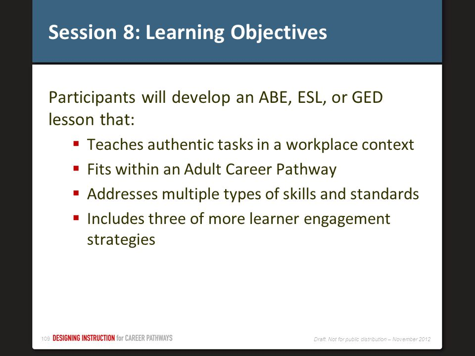 Session 8: Learning Objectives
