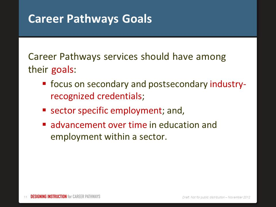 Career Pathways Goals Career Pathways services should have among their goals: focus on secondary and postsecondary industry- recognized credentials;