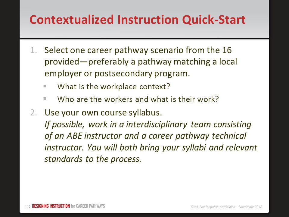 Contextualized Instruction Quick-Start
