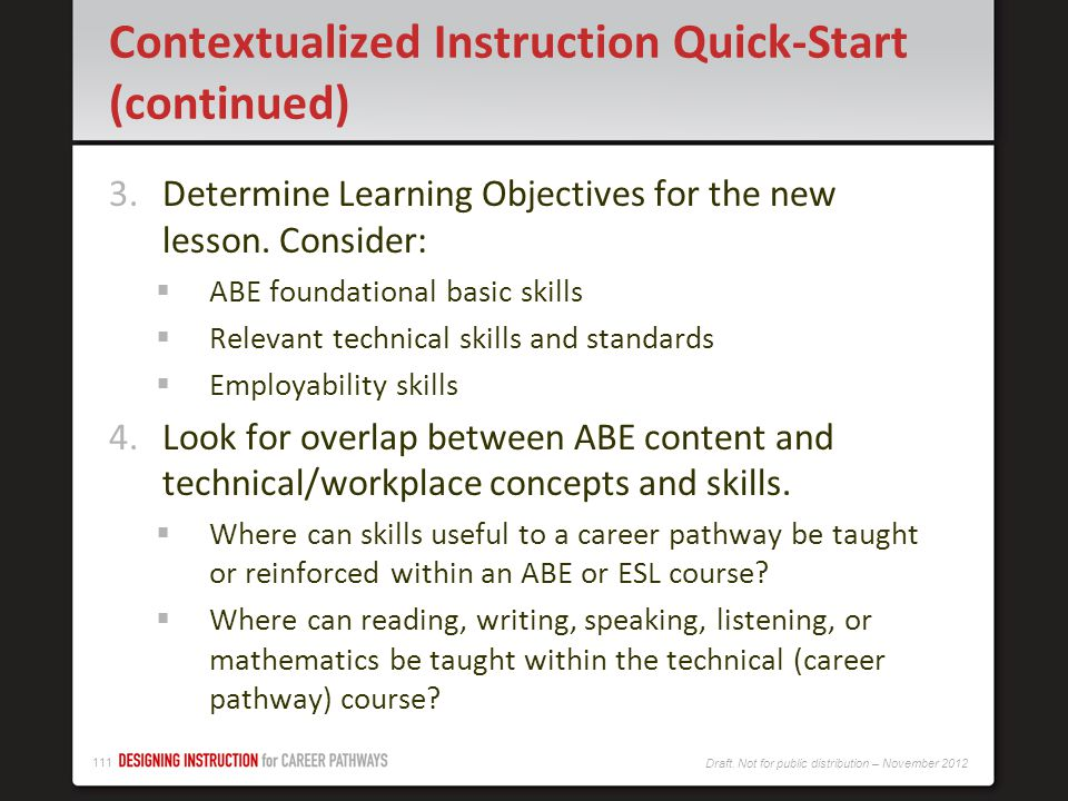 Contextualized Instruction Quick-Start (continued)