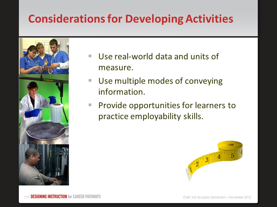 Considerations for Developing Activities