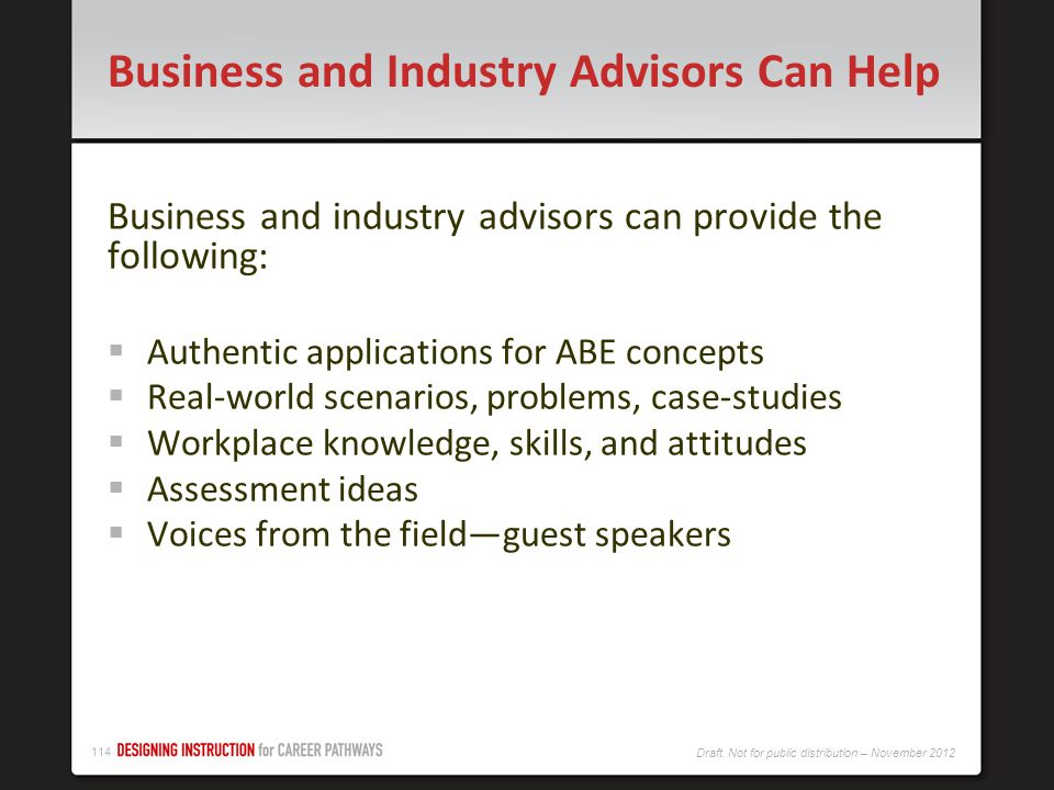 Business and Industry Advisors Can Help