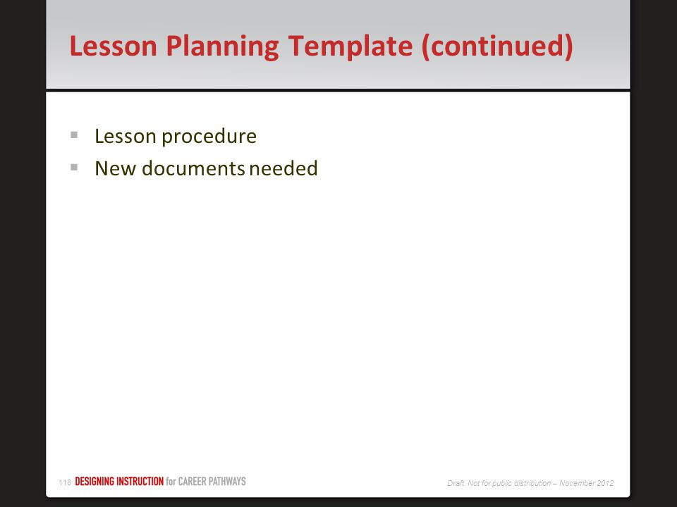 Lesson Planning Template (continued)