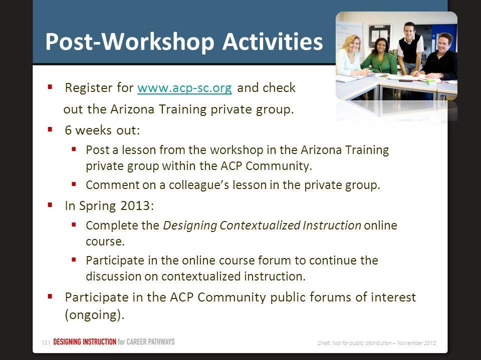 Post-Workshop Activities