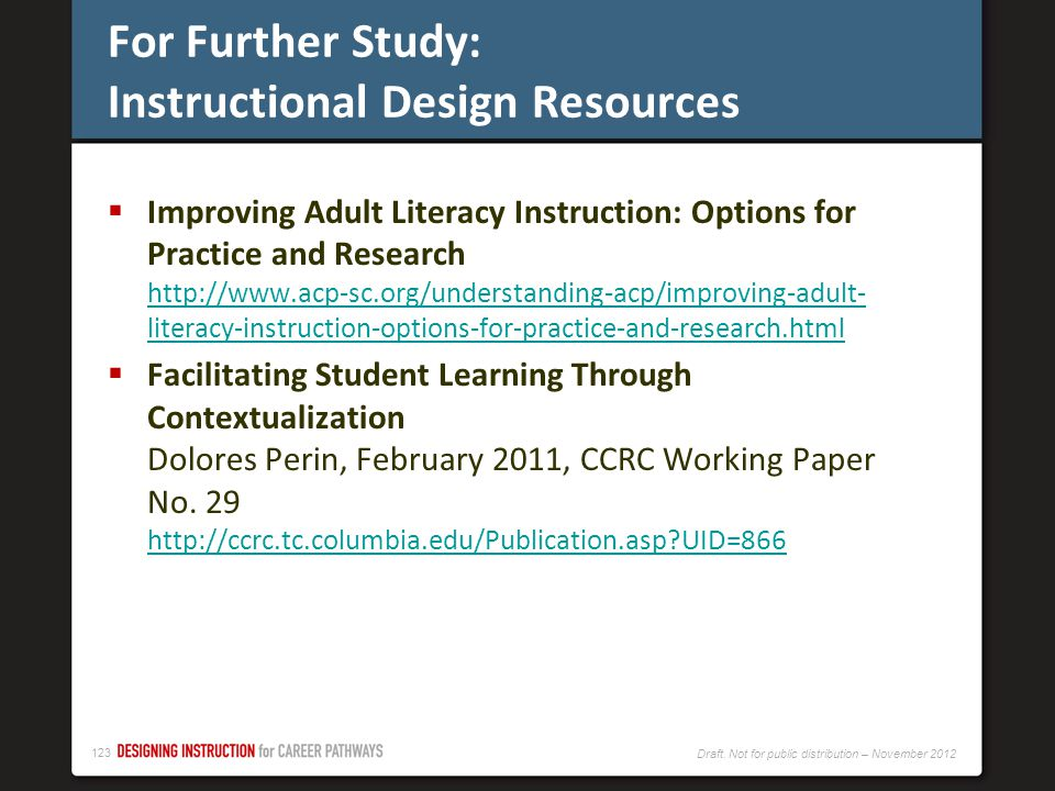 For Further Study: Instructional Design Resources