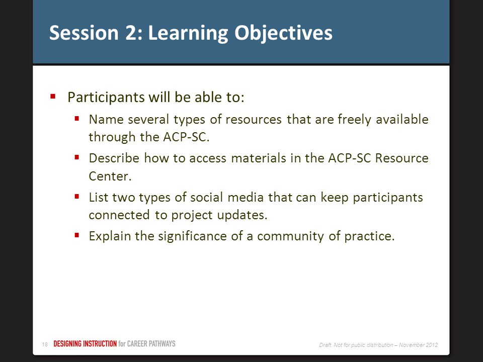 Session 2: Learning Objectives