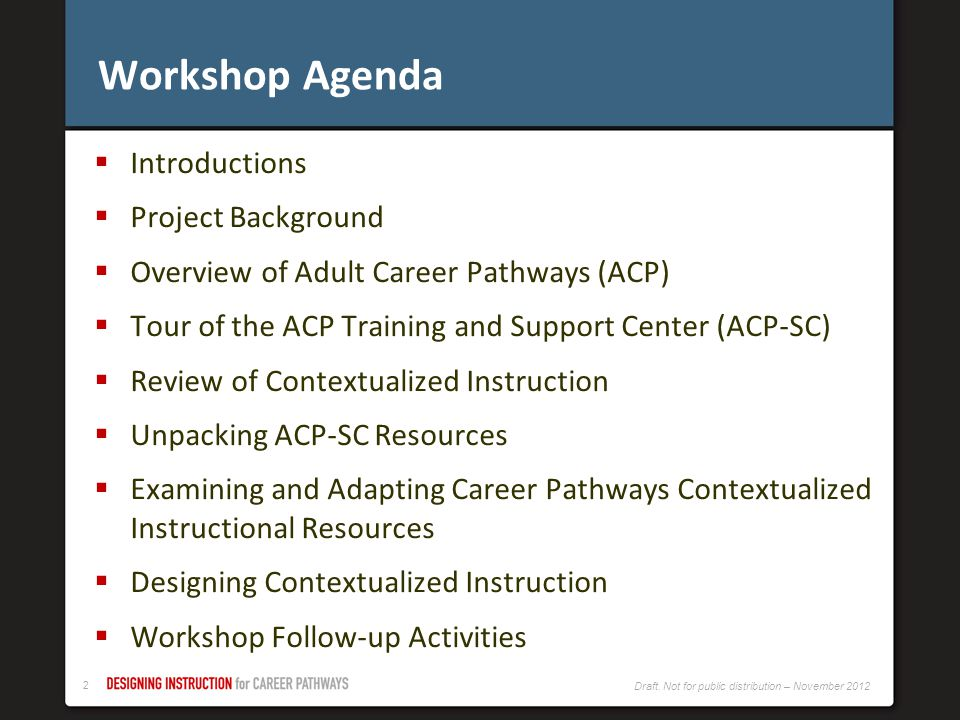 Workshop Agenda Introductions Project Background