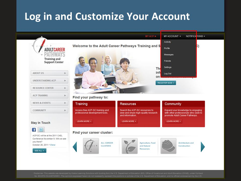 Log in and Customize Your Account