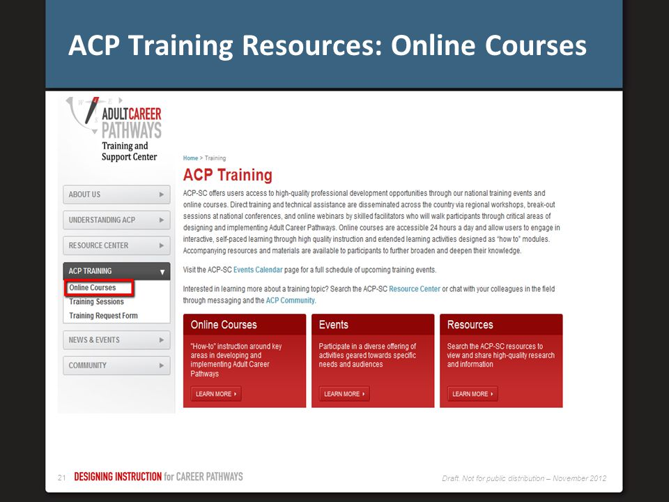 ACP Training Resources: Online Courses