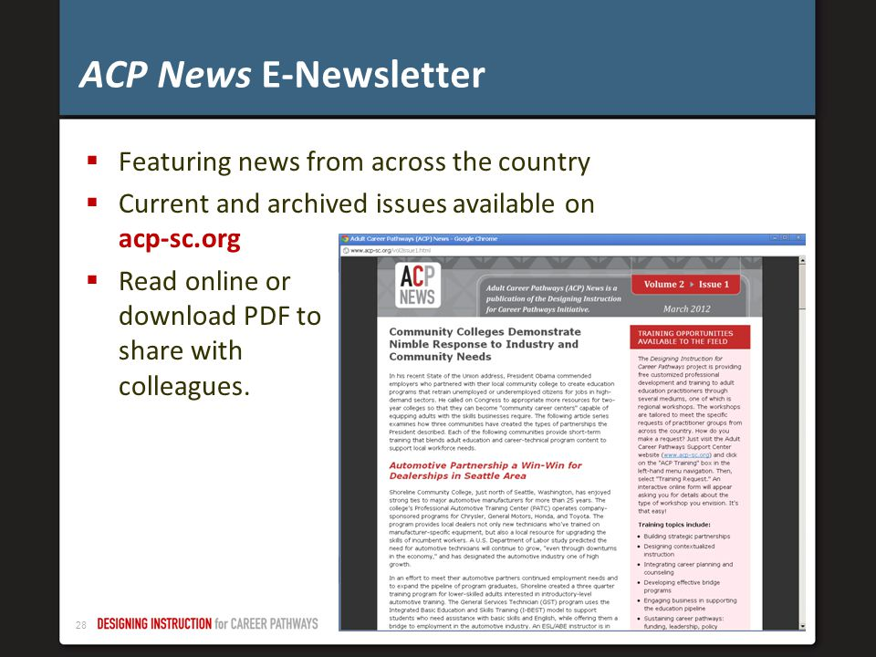 ACP News E-Newsletter Featuring news from across the country