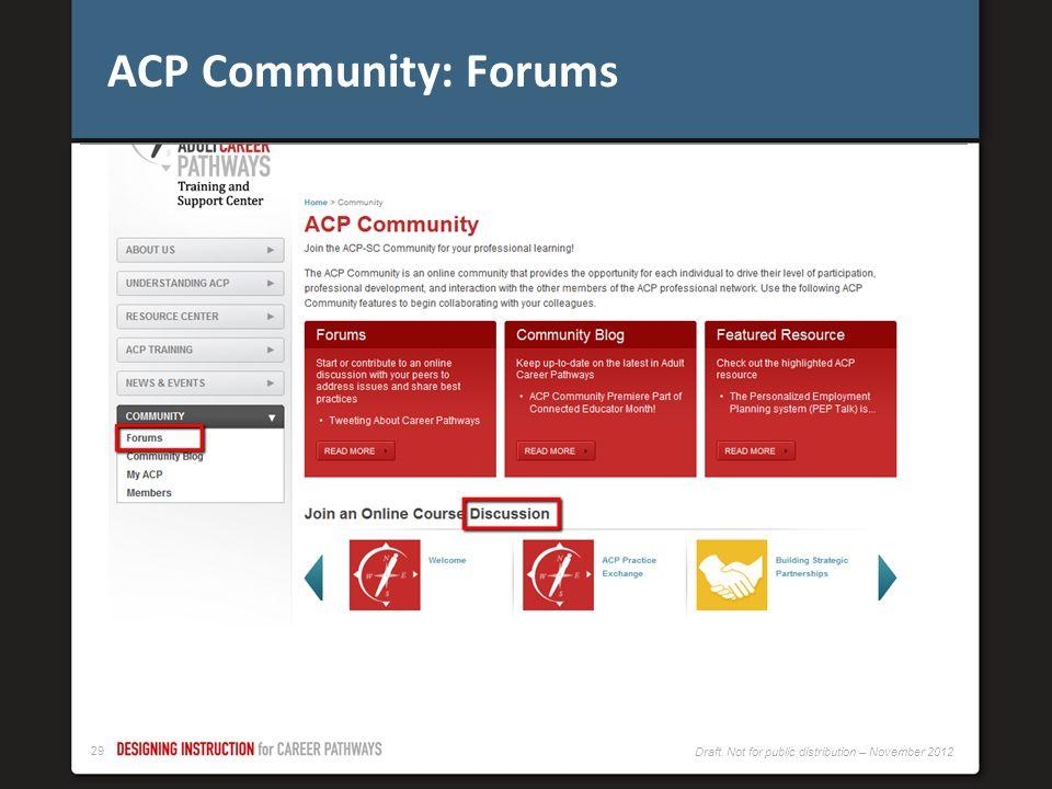ACP Community: Forums