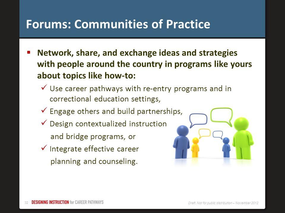 Forums: Communities of Practice