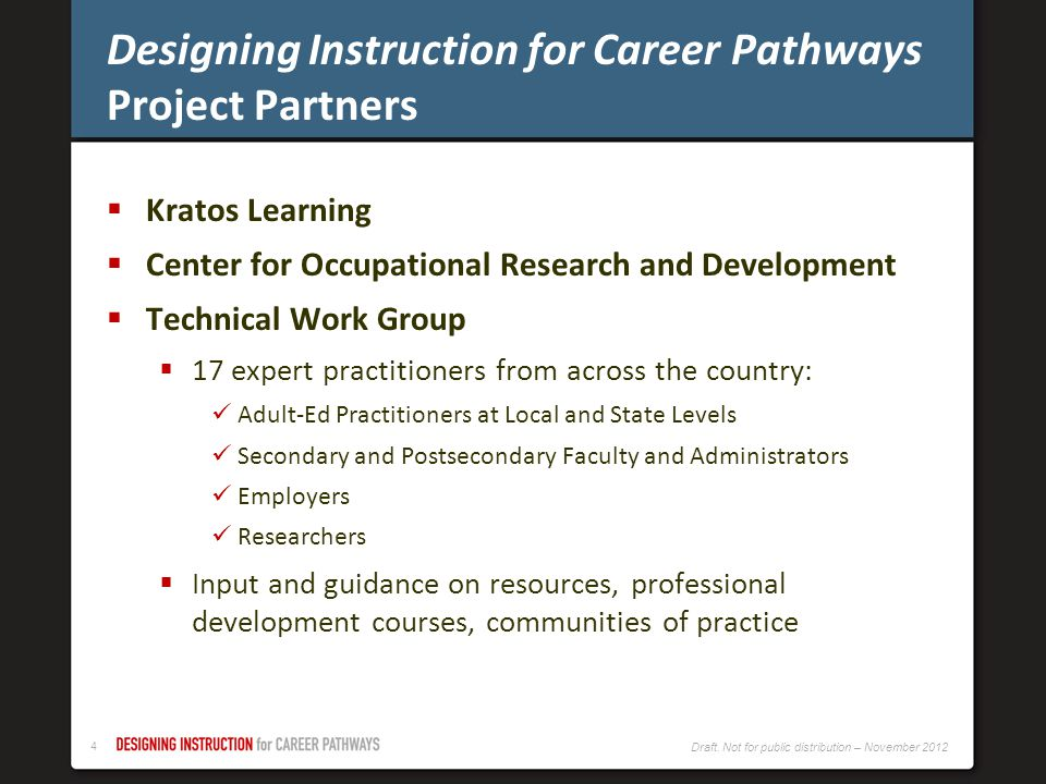 Designing Instruction for Career Pathways Project Partners