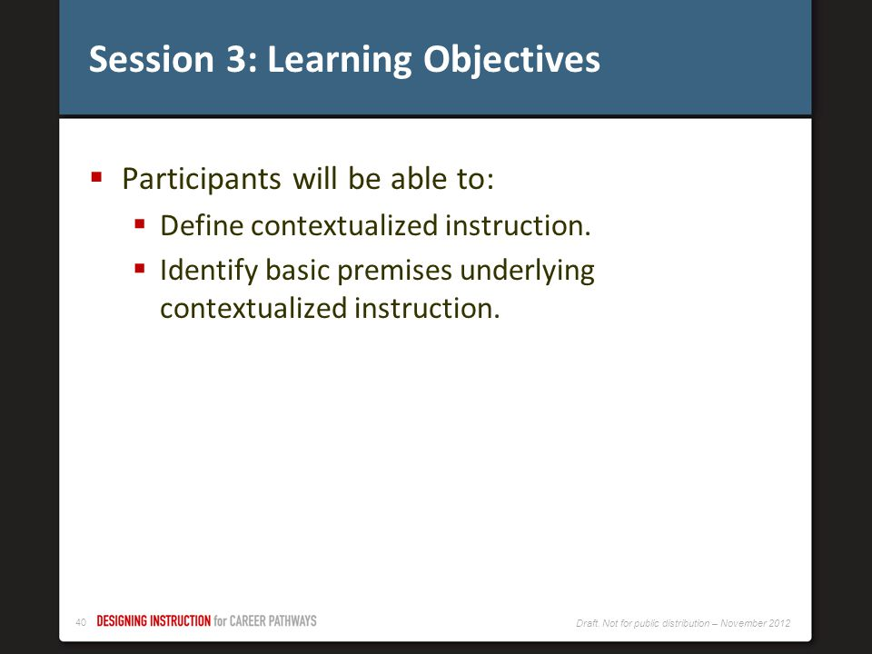 Session 3: Learning Objectives