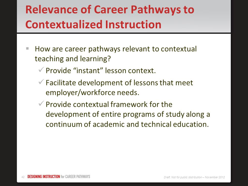 Relevance of Career Pathways to Contextualized Instruction