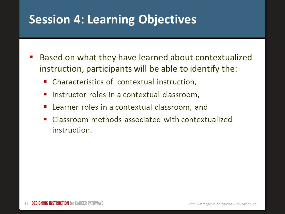 Session 4: Learning Objectives