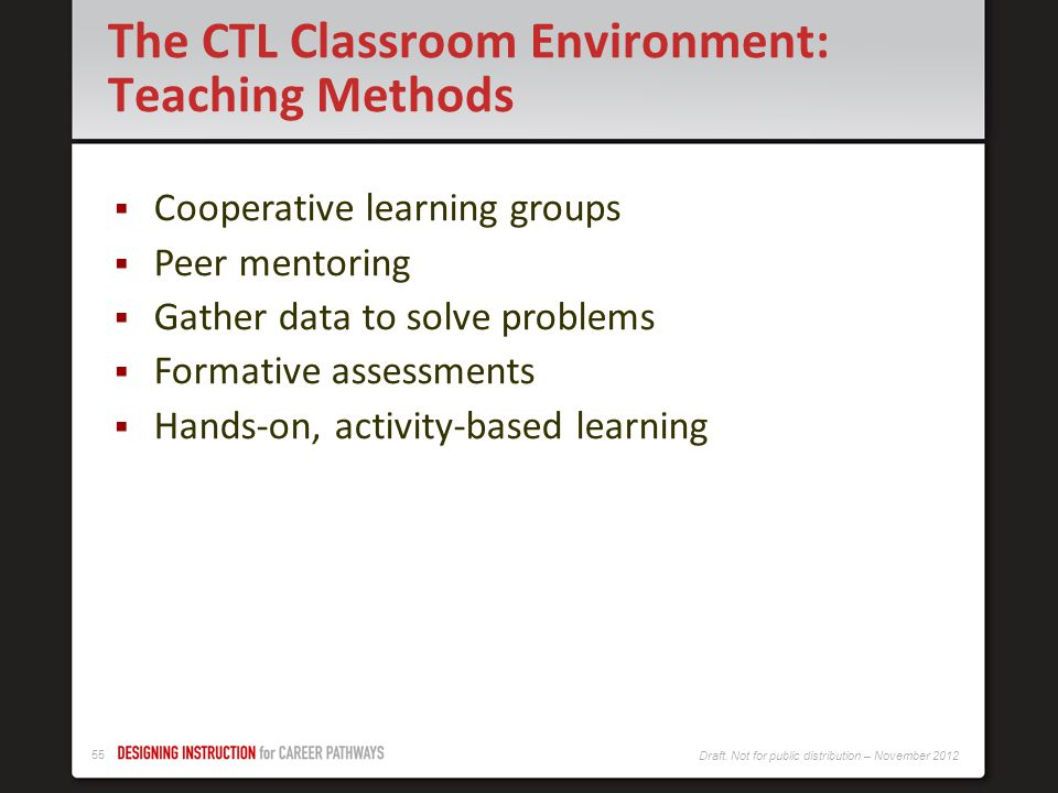 The CTL Classroom Environment: Teaching Methods