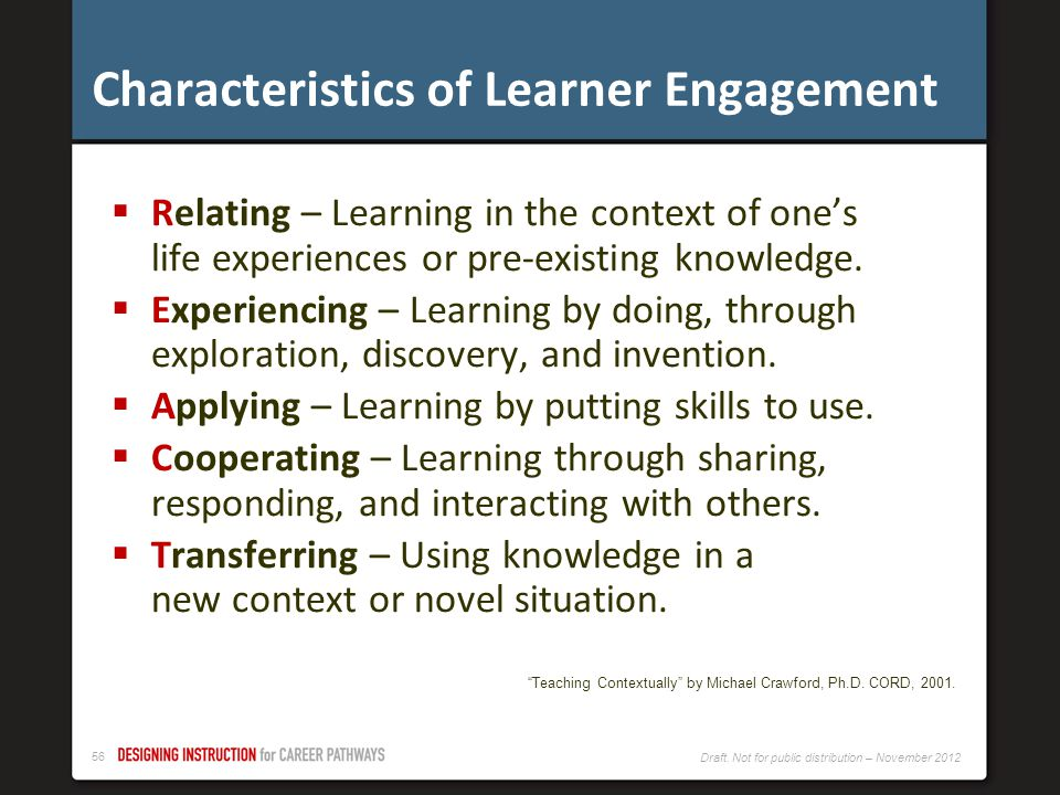 Characteristics of Learner Engagement