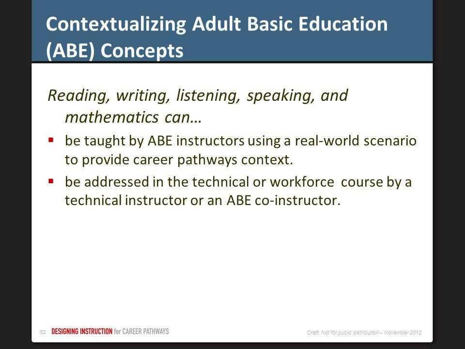 Contextualizing Adult Basic Education (ABE) Concepts