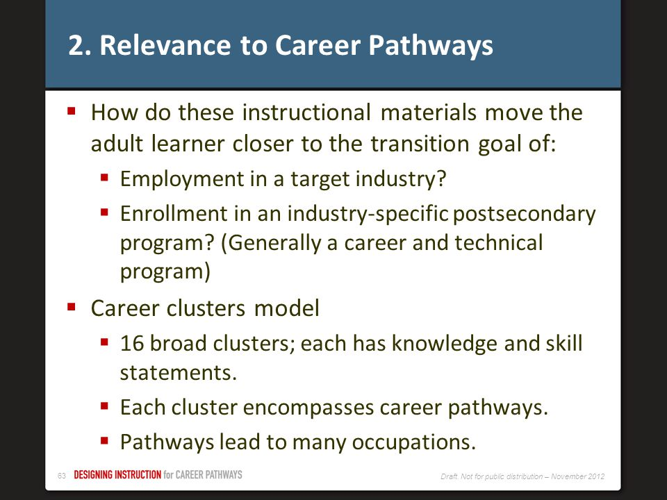 2. Relevance to Career Pathways