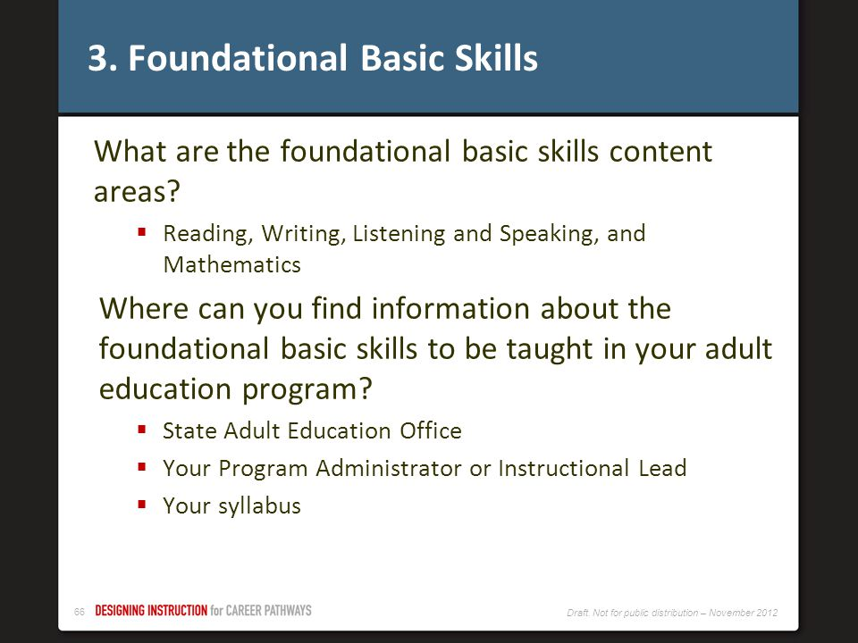 3. Foundational Basic Skills