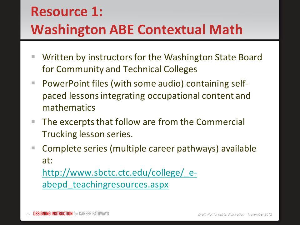 Resource 1: Washington ABE Contextual Math