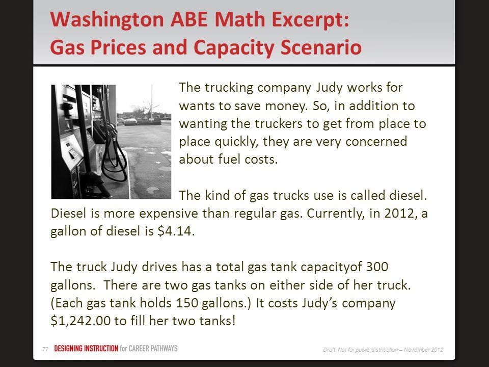 Washington ABE Math Excerpt: Gas Prices and Capacity Scenario