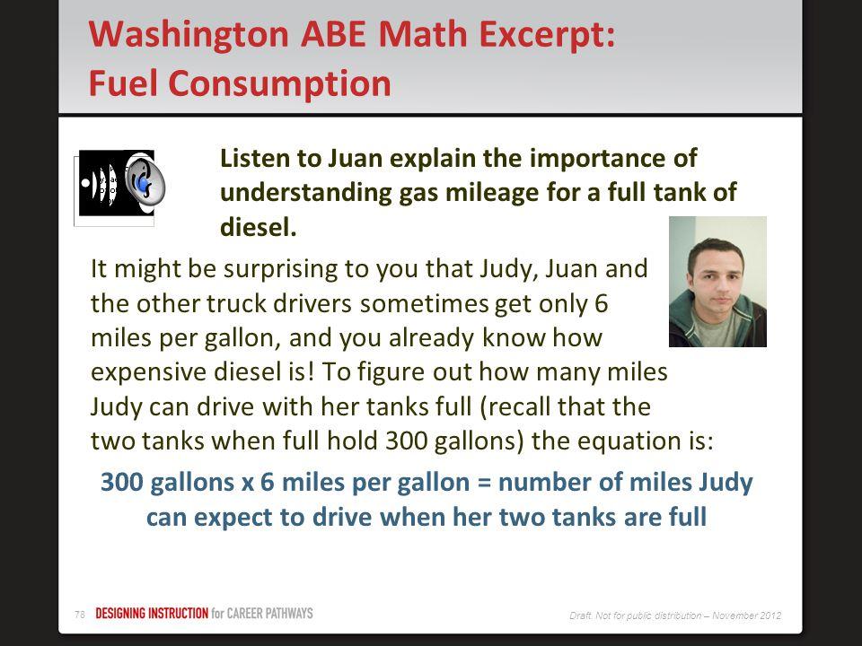 Washington ABE Math Excerpt: Fuel Consumption