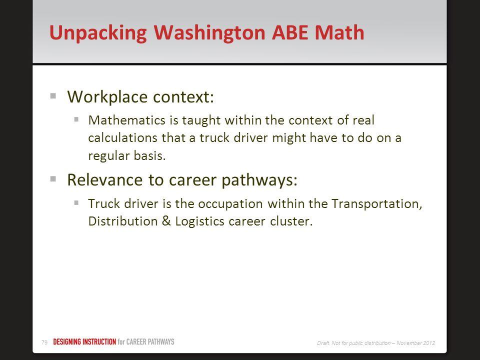 Unpacking Washington ABE Math