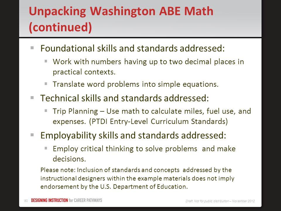 Unpacking Washington ABE Math (continued)
