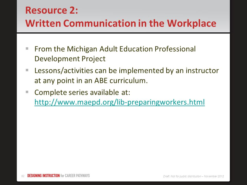 Resource 2: Written Communication in the Workplace